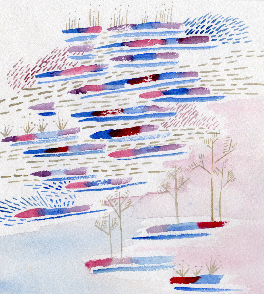 Imagined landscape (winter?). Watercolor.