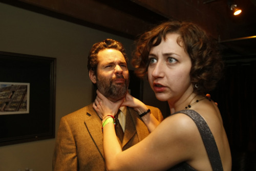 Courting Sketchfest: Kristen Schaal choking Paul F. Tompkins by Jakub Mosur  [Circa 2008]