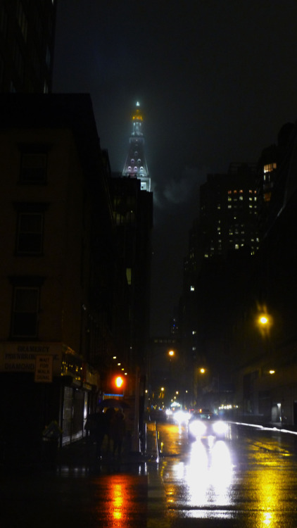 5 - Walking home, I saw fog surrounding that tower.