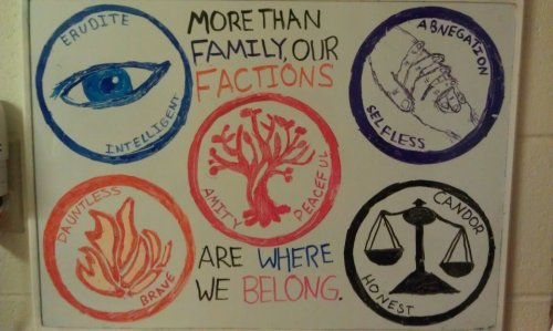 "mandyla:  The five Factions of Veronica Roth's Divergent. I put Amity in the center because that's how I identify and that's just how I roll :P Abengation is purple because I don't have a grey marker and I'm way happier with the way the hands turned out than I probably should be. I'm just impressed that they actually look like hands. ""Family"" is in purple to reference where Tris's family is/was and ""Factions"" is in orange to reference what her choice was. Yeah, I actually put some forethought into this one *mindblown*"