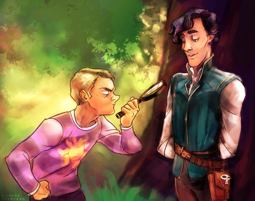 "alicexz:  ""I have made the decision to trust you, Sherlock–"" ""–a horrible decision really–"" THIS IS A BIRTHDAY GIFT FOR THE BEAUTIFUL ANDELLS YES from your two best keepers The idea is all blue's holy crap I figured we should combine andells' two ~FAVORITE THINGS~, Sherlock and Tangled, for some DISNEYLOCK but I had no idea how and then blue drew this instantly!!! Then I painted it with colors and stuff!!! IT WAS TEAMWORK!!!! Anyway WE HOPE YOU LIKE IT BABY"