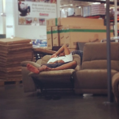 Guy fell asleep on the couch in Costco. (Taken with instagram)