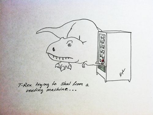 T-Rex Trying To Steal From A Vending Machine  #TRexTrying