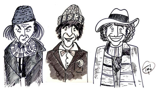 Had fun on my lunch break drawing some of my favorite Timelords and their penchants for haberdashery.   P.S. This is my first post on TumblR. Yay!