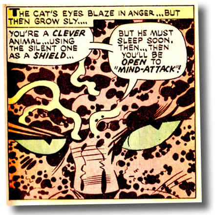 I am pretty sure this awesome Kirby panel from Kamandi  #24 articulates exactly whart my cat thinks of me.