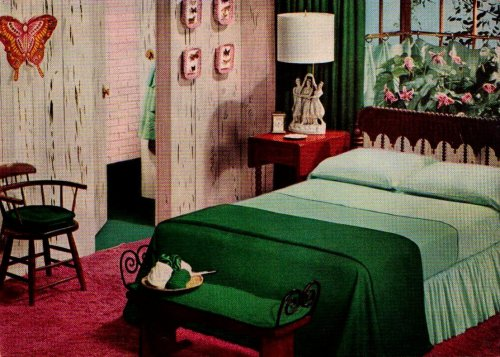 "Green and Pink Bedroom  ""Ladies' Home Journal Book of Interior Decoration""by Elizabeth T. Halsey1959"