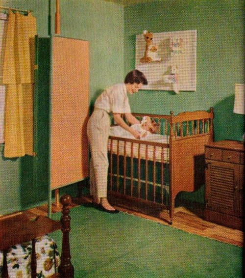 "Nursery Corner in Parents' Room  ""A folding screen, which blocks out light and drafts, also sets off a nursery corner in a parents' bedroom"" ""Better Homes and Gardens""September 1959"