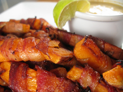 knighteclipse:  Bacon-Wrapped Sweet Potato Fries