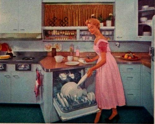 "the50s:  Model Kitchen 3  ""Dishes are handled easily between dishwasher and cabinets on opposite wall in the narrow kitchen, or in the pantry on other side of the wall."" ""Family Circle Magazine""October 1955"