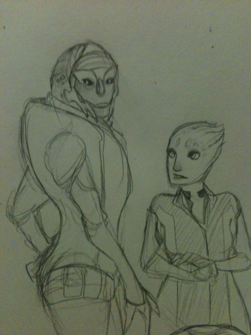 A quick doodle of Kasespaetzle's badass turian merc lady Neralya, and my tiny little asari lady Chorra.  Is it bad I ship these two a little?