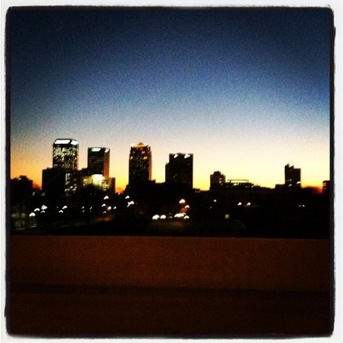 #birmingham #alabama #sunset #cloudless #sky #blue #yellow #buildings #skyline  (Taken with instagram)