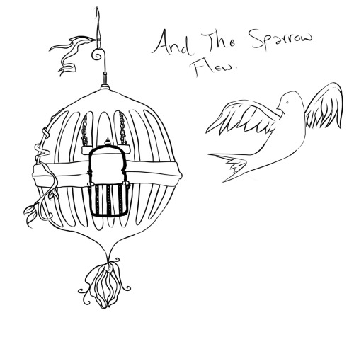 """And The Sparrow Flew."" A sketch my friend Dylan did for the first tattoo I plan to get. <3"