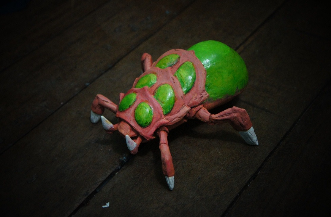 elushies:  This is a baneling I made for an egg drop thingy under our packaging class . It's an egg toy, that huge explosive butt is partially an egg and we are going to drop next week. :D
