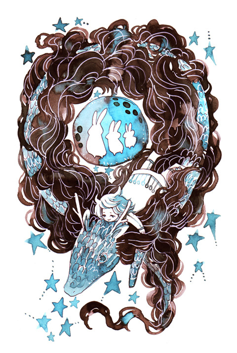 maruti-bitamin:  feasting on stars Commission for rangurage who requested a moon rabbit lunar new year theme. <3  Sure have been a lot of dragon-esque pictures this year. :3