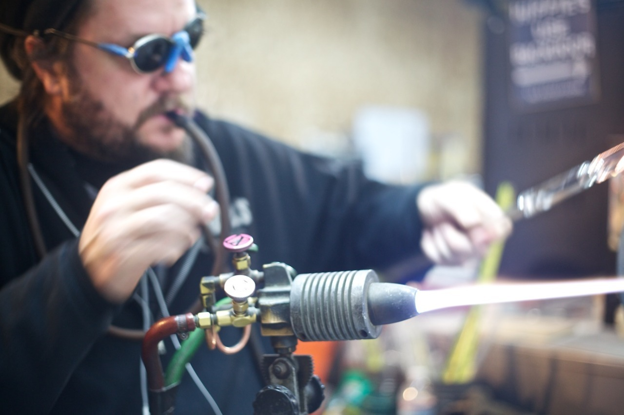 I've been doing some work with a high-end glass blower in San Diego who is starting to brand his company and push his work out to the public. My first session was spent photographing ridiculously nice water pipes that looked more like Tesla experiments than smoking apparatuses while our next meeting was at the workshop to get some images of him at work.