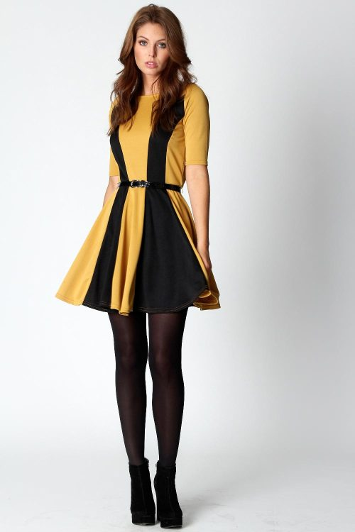 Hannah Contrast Panel 3/4 Sleeve Skater Dress   from boohoo.com Also snagged this on sale, yay!! :3
