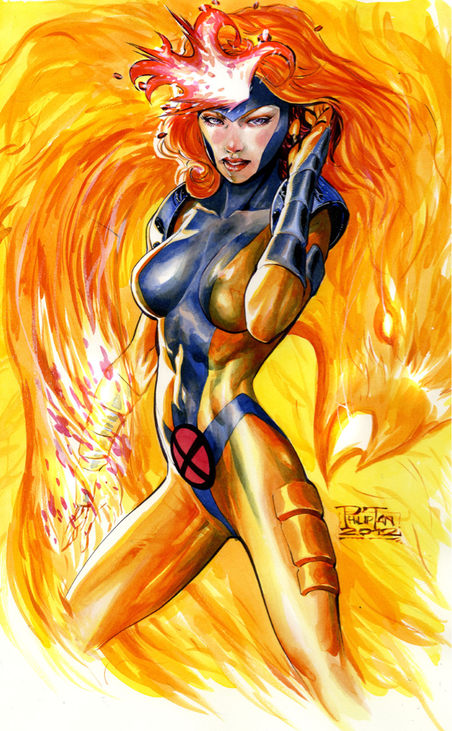 Phoenix painting practice.   I know the classic Phoenix/DarkPhoenix costume is everyone's fav…but this is the Jean Grey I grew up with. Love 90s Xmen!  Pardon on lots of the painting errors… Practicing and learning XD  Thanks! Philip