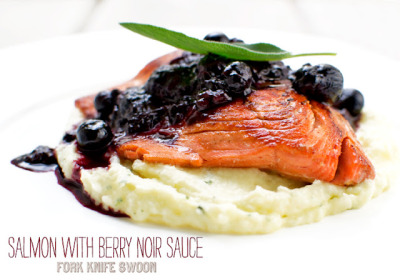 Wild Salmon With Berry Noir Sauce and Sage Parsnip Puree [x]