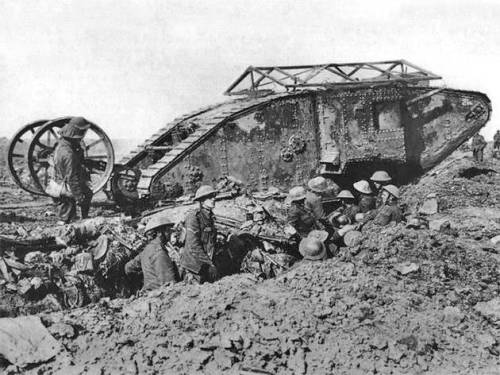 Sept. 15, 1916: All Disquiet on the Western Front 1916: The tank makes its debut as a battlefield  weapon, attacking the Germans as part of a British assault near Bois  d'Elville, or Delville Wood, on the Western Front. The crude, 14-ton monster that breasted the German trenches that day was the culmination of an idea 145 years in the making.