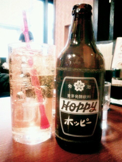 Drink of the day (Jan. 28): HOPPY Classic Tokyoite non-alcoholic beer, usually served chilled, on ice with shochu. Refreshing, and a sharp aftertaste of bitter that really comes into its own when taken with spicy food - in this case tantan tsuke-men (noodles dipped in Sichuan sauce). 7/10 More about Hoppy.