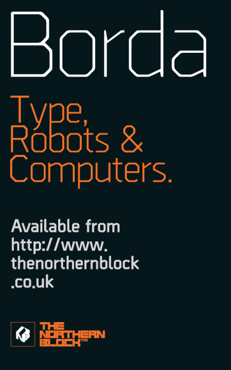 Borda - Typeface A carefully drawn geometric typeface. Exacting angles are combined with smooth corner details to form a clean, legible font with a modern appearance. The compact nature of the letterforms allows for great use of space across text layouts. Details include 6 weights with italics, an extended European character set, manually edited kerning and Euro symbol.