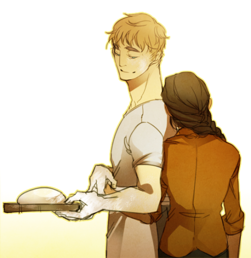 teaat2am:  Okay just about 10 reqs were of Peeta, baking/bread and Katniss in any combination so I hope this satisfies that lmao