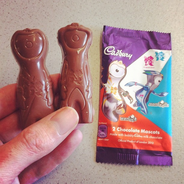 Olympic Mascot Chocolates! They're just like Cadbury's Wispa.  (Taken with instagram)