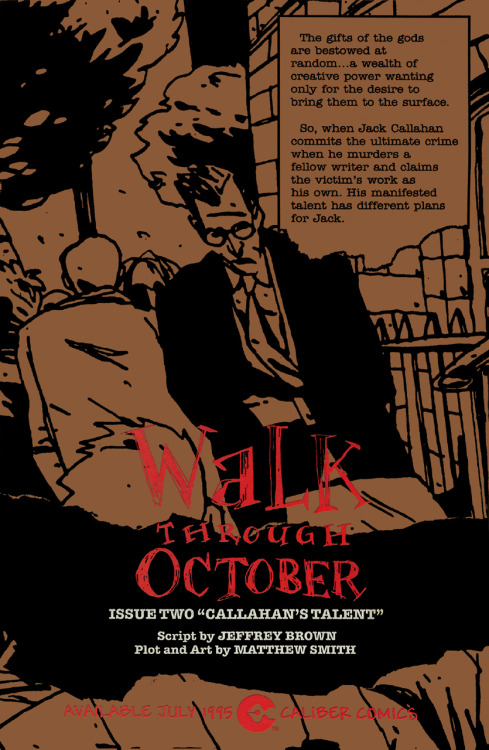Promotional ad for the unpublished second issue of Walk Through October by Jeffrey Brown (not that one) and Matthew Smith, 1995.