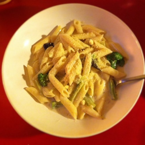 #20120128 #cream #broccoli #asparagus #pork #celery #penne (Taken with instagram)