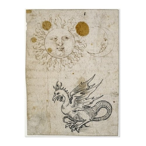 Albrecht Dürer: The Sun, the Moon, and a Basilisk (drawing, 1512).  Interpretation from the British Museum: these three symbols in combination - the sun, the moon and basilisk (half-eagle and half-serpent, hatched from a cock's egg by a serpent) -  represent Eternity. (2012: Year of the Dragon.)