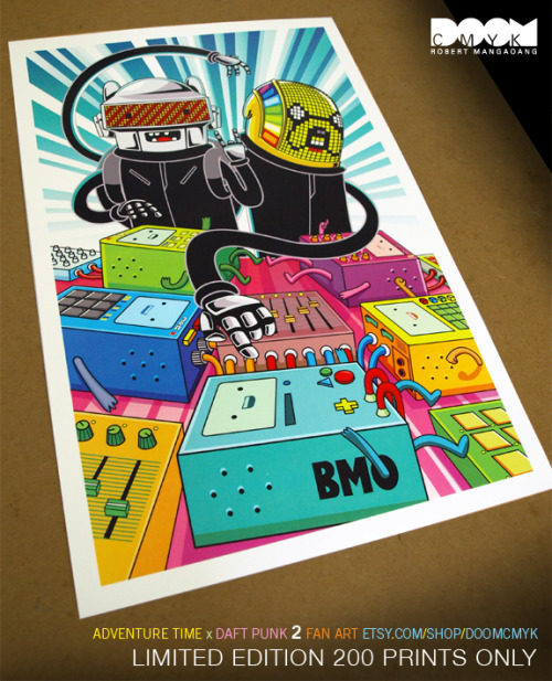 doomsdaily:  Adventure Time x Daft Punk 2 fan art poster available at: http://www.etsy.com/listing/91621445/limited-edition-adventure-time-x-daft Limited Edition 200 Prints.