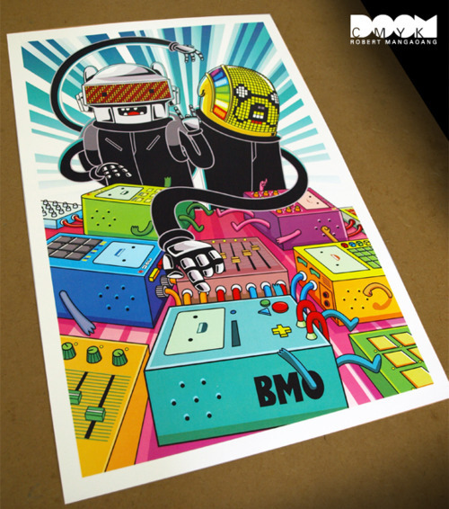 Adventure Time x Daft Punk 2 fan art poster