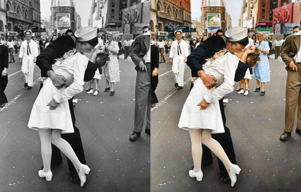 Ever wonder what iconic photographs would look like if only today's technology had been in existence? Yeah, us too. This collection of photoshopped images gives an idea of the exact colour of Einstein's eyes and the precise shade of tan on that sailor's face. Ok so it's not necessarily historically correct, but the photoshop job's pretty darn good!