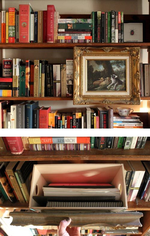 diy project: artwork & secret storage box by Kate A place for recycling pieces of art and a stealth storage unit that can hold the most unsightly items.  Via Design*Sponge