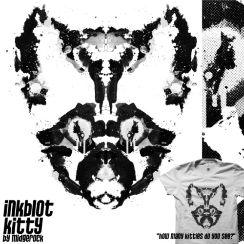 """Inkblot Kitty"" by midgerock Design subbed at shirt.woot for this week's ""Watercolors"" theme.  Please stop over and vote if you would like to see this design printed.  Plus see how many kitties you can find in the design."