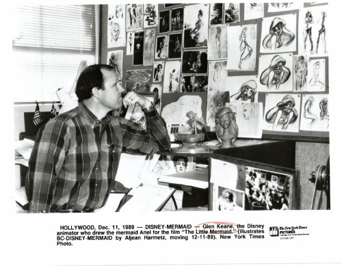 ajowithablog:  Glen Keane watching his sketches of Ariel, for The Little Mermaid.