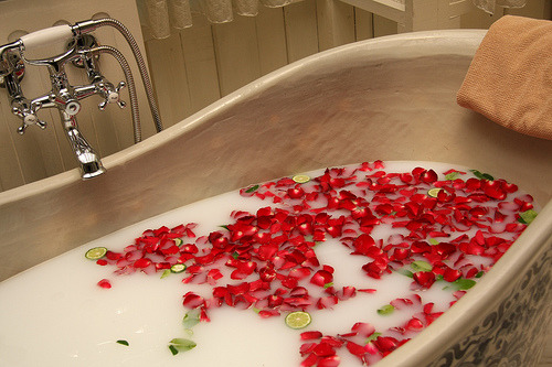 "lifeslittle:  wishing-4-perfection:  Beauty-Tip #9 : HOME MADE BATHS  Here is an article for you about different sorts of home-made baths that you can make at home. Theses recipes will help you, your skin, your body… just choose the most appropriate one for yourself :)  Bath with sea saltStir in water 350 gr. of natural sea salt and lay in this ""sea"" for about 15-20 minutes. This procedure stimulates your metabolism. A whole course (to really straighten your metabolism) consists of 10-12 baths that you take every two days. You skin becomes much smoother and more elastic. The temperature of your ""sea"" should not exceed 36-37C°. Cleopatra BathTake 1 litre of natural cow milk, add 200-300 grams of honey. Stir and pour into your bath. Now you can feel like a Cleopatra, your skin will become very smooth and silky. Bath with henna and teaIn a 3-litre jar put three tablespoons of black tea and 2 1/3 tablespoons of henna. Pour in boiling water. Infuse for 15 minutes. Strain this mix in order to eliminate the bits. After this, you can pour this brownish-green liquid in your bath. Your bath might be a little dirty afterwards, but it washes away easily with bathroom-detergent. Bath with oil and orange oil against celluliteDilute a few drops of orange oil in olive oil and pour it all into the tub. This mixture of oils gradually diminishes cellulite. While bathing, you will feel your skill pinch from time to time and this is good. However, you should stop the process if you feel pain or strong discomfort. Bath with bay leavesPour boiling water over 10-12 bay leaves and let in infuse for 20-30 minutes. Add this infusion to your bath. This will show a very calming effect not only on the state of mind, but also on your skin Relaxing bath, muscle tension and muscle pain relief8 glasses of water, 1 cup of berries and pins of Juniper, a handful of eucalyptus leaves, 1/2 cup of lavender flowers and leaves, 2 cinnamon sticks, peel of 1 orange. Bring the resulting mixture to boil and simmer for 15-20 minutes. The strain and pour into a warm bath. Bath ""Mandarin Caprice""5 drops of essential oil of tangerine, 3 drops of lavender oil, 1 drop of pine oil, a handful of fresh tangerine peels, 1/2 tablespoon of jojoba oil (it's fine if you don't have any). Add this mixture to your bath. The smell of citrus lifts your spirits, refreshes and relieves fatigue. Tangerine oil is ideal to prevent acne, helps to heal scars and stretch marks Body bath and steam bath for face on herbsNormal Skin : chamomile, geranium, lavender, yiang-yiang. Sensitive skin : camomile, lavender, rose, orange blossom, scented violet. Dry Skin : clary sage, sandalwood, marshmallow, rose. Oily Skin : calendula, lemon, basil, juniper and sage. Out of these herbs, you can make an infusion by brewing them in advance and then let infuse for 20-30 minute. Pour the infusion in your bath afterwards. To make a steam bath for the face, you need to pour boiling water over 1/4 cup dry herb mixture, cover your head with a towel and inhale the team of this infusion for 10 min Bath for soft and silky skinFor the skin to be soft and silky you need to take a shower in the evening and, on a clean and dry body (from feet to neck), rub in olive oil or any other vegetable oil. While rubbing in the oil, start preparing a bath with nice warm water. When your body is oily and your bath is ready, lay there for at least 15-20 minutes, massaging your skin and rubbing in the oil more and more. After the bath, you can wash off the oil with soap and water, but you can also simply use a wet towel. After this bath, it's better to go straight to bed. Overnight, your skin will absorb the oil that you rubbed in and it will be baby smooth in the morning! Starch Bath to smoothen skinTake 0.5 kg of potato starch or a litter of thick oatmeal broth. Mix it with 1 tablespoon of pine extract. After the bath, treat your body with some moisturising cream Vinegar bag to smoothen skinSimply add 2-3 cups of apple vinegar to your bath Bath for dry skinAdd a glass of glycerol into your bath. Soak your body in this bath for 10 minutes maximum. Do not take this bath if you have a sunburn, as well as right after sunbathing!  will do all of this."