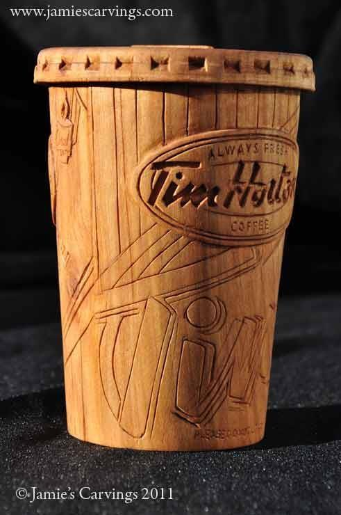 novascotiablog:  jamiescarvings:  Tim Hortons Coffee Cup Sculpture.  Hand carved by Acadian Wood Carver Jamie Thibault in Grosses Coques, Nova Scotia, Canada. www.jamiescarvings.com  Amazing detail.  I first re-blogged this over a year ago, but this is so awesome that it's worth doing it again! Love this!