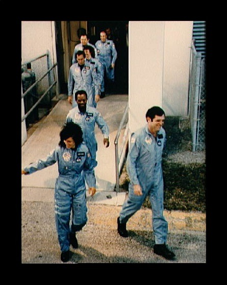 "fuckyeahfemaleastronauts:  In remembrance of the STS-51-L crew. From the front to the back: Michael J. Smith,  Judith Resnik, Ronald McNair, Francis ""Dick"" Scobee, Christa McAuliffe, Ellison S. Onizuka and Gregory Jarvis. source:  JSC Digital Image Collection"