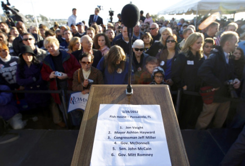 The podium at the Mitt Romney rally in Pensacola, Florida this morning. (Photo by Brian Snyder/Reuters)