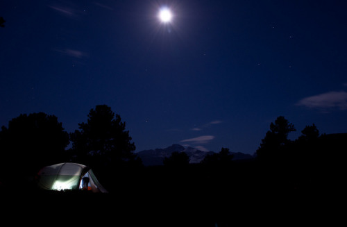 camping by JPutsch on Flickr. Night time in Rocky Mountain National Park with Longs peak in the background. Outdoor Sporting Goods