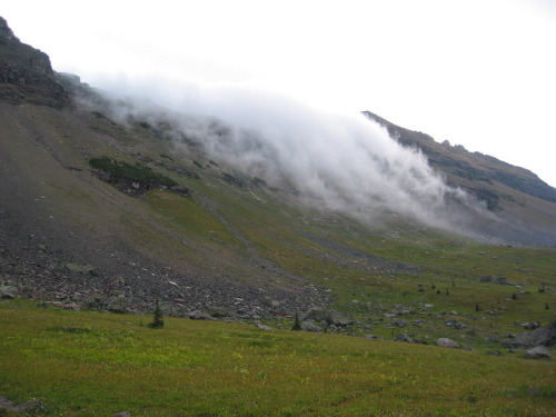 Fog over the Continental Divide by glaciernps on Flickr. Fog drifts over the Continental Divide near Sue Lake Bench, above Fifty Mountain Camp. Outdoor Sporting Goods