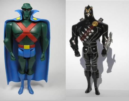 Before and After of the Martian Man hunter figure I transformed into the Talon, the new Batman villain from DC's new 52 comics Completely retooled and resculpted, all of his features and weapons are from scratch