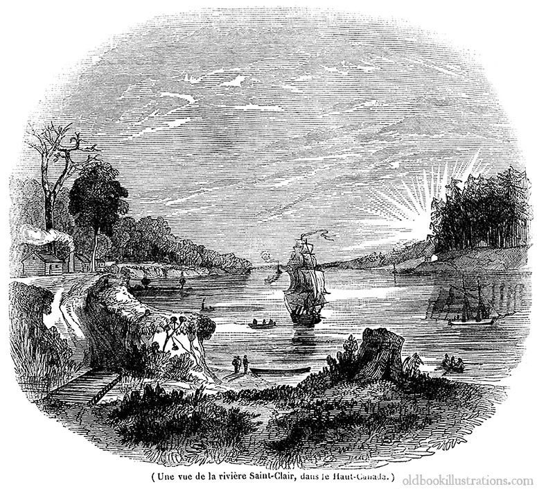 oldbookillustrations:  St. Clair River (Canada). From Le Magasin Pittoresque, Paris, 1837. A print of this image is available here. (Source: Old Book Illustrations)
