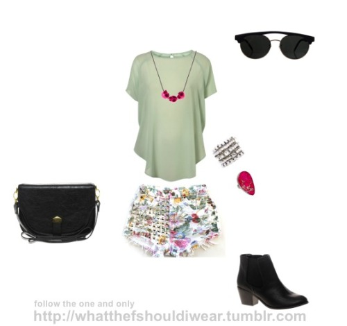 SUNGLASSES: American ApparelTOP: TopshopNECKLACE: PiecesCUFF: Juicy CoutureRING: Charles AlbertSHORTS: Runway DreamzSHOES: River IslandBAG: Warehouse