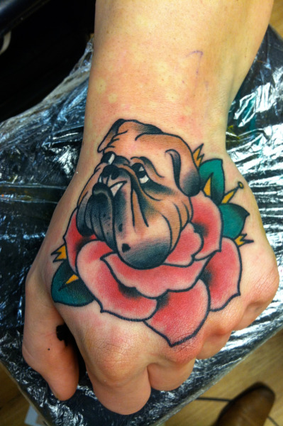 Did this little beauty today! True English Bulldog! thoroughly enjoyed tattooing this.