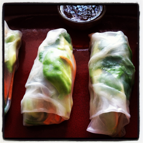 iwillrunforfood:  Spring Rolls 6 spring roll wraps 1 carrot, peeled and julienned 1 cucumber, julienned 1 avocado, sliced 3 tbsp. cilantro Soak spring roll wraps in warm water until pliable. Divide ingredients evenly between wraps. Roll and serve.