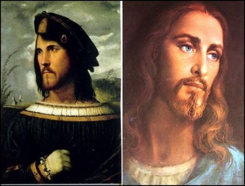 "White Jesus modeled on Cesare Borgia? The theory is that people were generally not too enthusiastic about the Catholic Church's regular massacres of Jews and Muslims, because the people they were killing looked like Jesus.  Pope Alexander VI then ordered the destruction of all art depicting a Semitic Jesus and commissioned a number of paintings depicting a Caucasian Jesus.  His son, Cardinal Cesare Borgia, was the model for these paintings.  Thus, the nastiest of all the Borgias, became the iconic Caucasian Jesus so loved by Christians today.  In 1995, GZA's Liquid Swords album featured the solo track by Wu-Tang Clan affiliate, Killah Priest, ""B.I.B.L.E. (Basic Instructions Before Leaving Earth)"". The lyrics include the lines; ""I even learnt Caucasians were really the Tribe of Edam, The white image, of Christ, is really Cesare Borgia"" The true image of Jesus was likely closer to this & this."