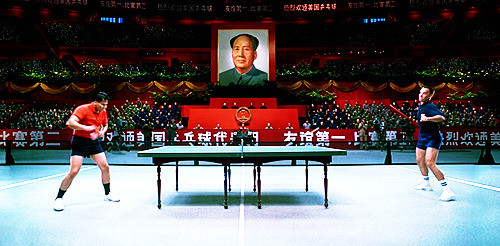During the ping-pong matches, there was no ball; it was entirely CGI, animated to meet the actors' paddles.