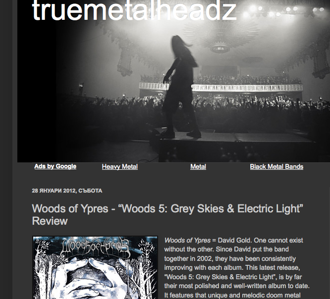earache:  Yet another stellar review for Woods Of Ypres WOODS 5 by truemetalheadz.com truemetalheadz.blogspot.com/2012/01/woods-of-ypres-woods-5-grey-skies.html